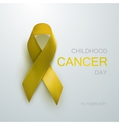 Childhood cancer awareness yellow ribbon vector