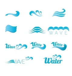 Blue wave logo design elements abstract wave vector