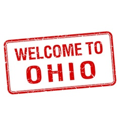 Welcome to ohio red grunge square stamp vector