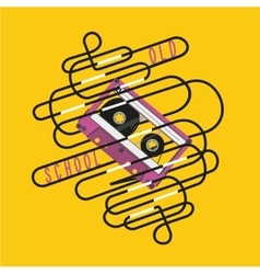 Retro poster with a audio cassette and tangled vector image