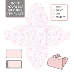 Favor gift box die cut box template with rose vector