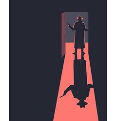 Armed man standing in the doorway vector