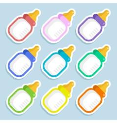 Baby milk bottle stickers vector