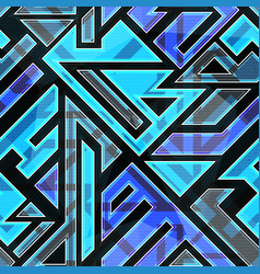 Blue technological seamless pattern vector