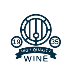 blue wine label high quality product vintage logo vector image vector image