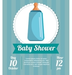 Bottle of baby shower card design vector