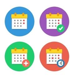 Calendar icons flat set vector