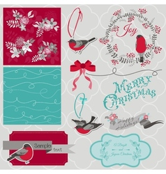 Christmas birds theme vector