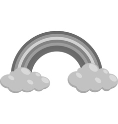 Clouds and rainbow icon black monochrome style vector