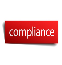 Compliance red paper sign isolated on white vector