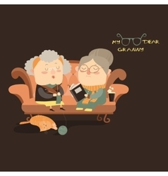 Elderly women sitting on couch vector