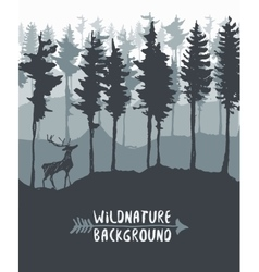Forest design pine tree deer drawing sketch vector image
