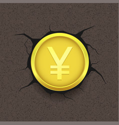 Golden yen on cracked background vector