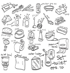 hand drawn set of toilet objects vector image