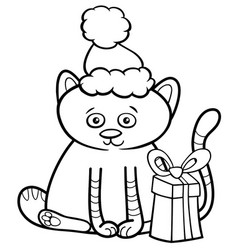 Kitten on christmas coloring book vector