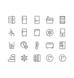 Line fridge icons vector