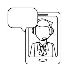 Man headphone smartphone bubble icon vector