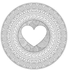 Mandala heart for valentine day decorative round vector