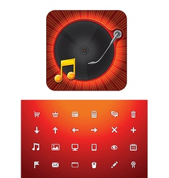 Music store icon set vector