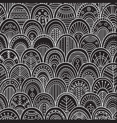 Ornamental scallops seamless pattern black vector