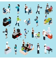 Restaurant Bar People Isometric Icons Set vector image vector image