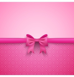 Romantic pink background with cute bow and pattern vector