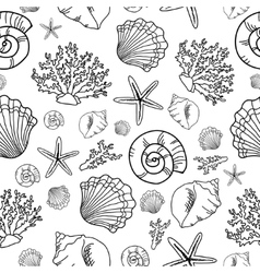 Seamless pattern with seashell vector