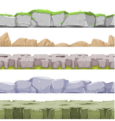 Seamless rocky landscape and stony grounds for vector
