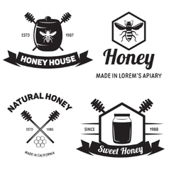 Set of vintage honey labels badges logotypes and vector
