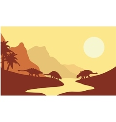 Silhouette of ankylosaurus at the morning vector