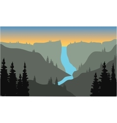 Silhouette of river from the top on mountain vector