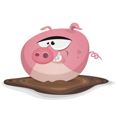 Toon pig wash in pond bath vector