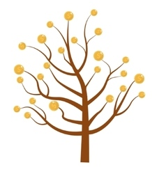 Tree with money coins flat design isolated vector