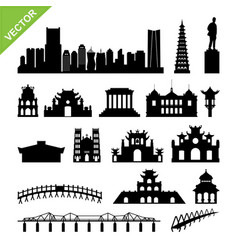 vietnam hanoi landmark and skyline silhouettes vector image vector image