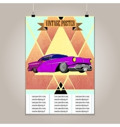 Vintage poster with high detail lowrider vector image