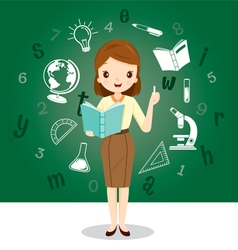 Woman Teacher With Educational Supplies Icons vector image vector image