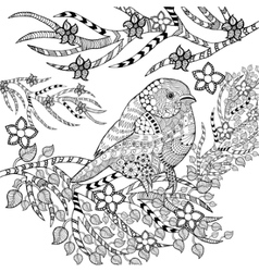 Zentangle stylized tropical bird in flower garden vector image vector image