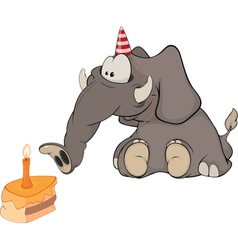 The elephant calf and a slice cake cartoon vector