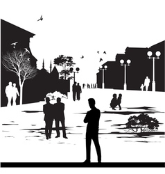 silhouettes in city park vector image