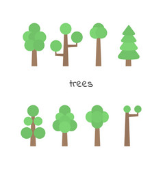 Set of simple trees flat trees isolated on white vector