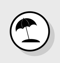 umbrella and sun lounger sign  flat black vector image
