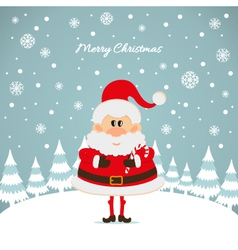 Santa claus with caramel cane the christmas card vector