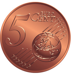 money bronze coin five euro cent vector image