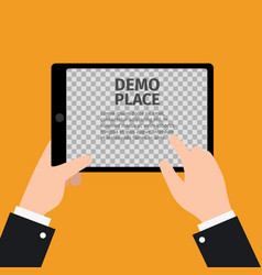Tablet in hand with transparent background vector