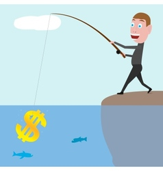 businessman catching dollars vector image
