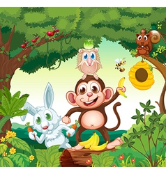 A group of happy animals at the forest vector image