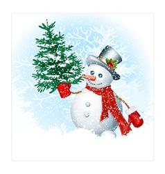Snowmen on snow background vector image