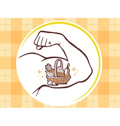 Strong man hand with icon of basket with vector
