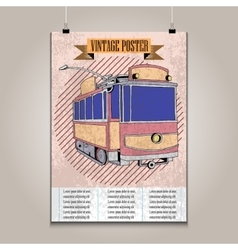 Vintage poster with high detail tram vector