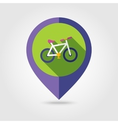 Bicycle flat mapping pin icon with long shadow vector